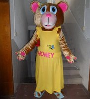 adult honey bear costume - with one mini fan inside the head adult honey bear mascot costume for adult to wear