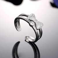 Wholesale Exquisite Sterling Silver Jewelry Korean Classic Bow Adjustable Ring Opening All match Element With Cute Box