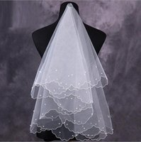 american bridal gowns - 2016 Cheap Elbow Bridal Veil Wedding Dress Gown White Ivory Red American Tulle One Layer Without Comb Meters Pearls In Stock