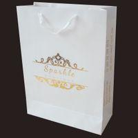 Cheap 200pcs lots 40*30*12cm kwhite card paper bag with gold color print