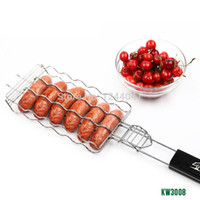 bbq baskets - Hot Dog Rack Metal Mesh Baskets BBQ Barbecue Sausage Grilling Basket Grill Rack BBQ Accessories Christmas Party BBQ Tool