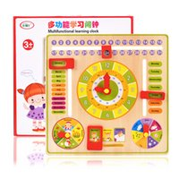 Wholesale 30set Multifunctional Wooden Calendar Clock Learning Education Toys Baby Early Learning Intelligence Development Toys kids gift