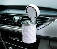 Wholesale Car Ashtrays Automobile Cigarette Ash Cylinder With LED Lamp Diamond Cut Out Air Outlet Hanging Type On Vehicle Garbage Box Piece