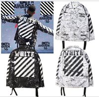 Wholesale Spring Military Jacket Men - Spring Europe OFF WHITE tie dyed striped jacket Men and women casual Coat yeezus military uniform Outerwear