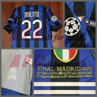Wholesale UCL Final inter Match Worn Player Issue Home Zanetti Sneijder Milito Football Rugby Custom Patches Sponsor