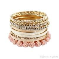 bar top resin - Fashion women Bracelets Bangles Sets for Women Top Selling Multilayer Alloy Rhinestone and Enamel Resin Flower Bracelets