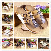 beige flip flops - 2016 New Summer Designer Women Sandals Lovers PU Leather Corks Sole Beach Slippers Sandals For Women Fashion Couple Clogs Flip Flops Shoes
