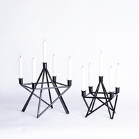 Wholesale Iron Tower Shape Unique Creative Design Black Modern Candle Holder for Living Room Fashion Home Decor Accessories Metal Candle Stand