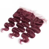 Wholesale j burgundy malaysian lace frontal closure pieces free middle way parting lace frontal wine red body wave human hair