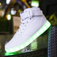 basket femme - Fashion basket Led shoes for adults Men Women Luminous light up shoes for couple glowing chaussure led femme High top Adults Lumineuse Shoes