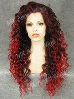 Wholesale K18 Hot Popular inch Long Curly Dark Auburn Red Mix Color Synthetic Lace Front Lady Wigs