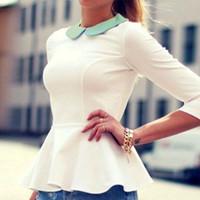 achat en gros de filles jabot chemise-Femmes Lady Lapel Peplum Frill manches longues 1X filles de haute qualité mignon charmant S / M / L / XL