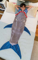 baby wash bag - Children Fashion Shark Mermaid Tail Blanket Baby Bed sleeping bag Super Soft Warmer coral fleece Blanket feet fit in the tail