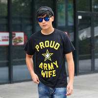 army wives - 100 combed cotton high quality hip hop round neck summer printed Pround of army wife black t shirt