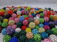 Wholesale Shamballa Disco Balls Clay Pave Crystal Rhinestones Colors mm mm mm mm Through Half Drilled Charms Statement Jewlry Making DHL