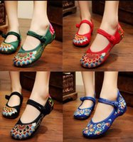 beijing leather shoes - EU Fashion Women Shoes Old Beijing Mary Jane Flats With Casual Shoes Chinese Style Embroidered Cloth shoes woman