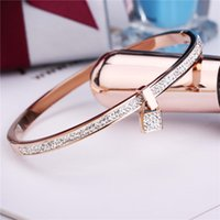 Wholesale 2016 New Fashion Stainless Steel Bangles Bracelet For Women K Gold Plated Rose Silver Color Key Charm Top Famous Brand Jewelry