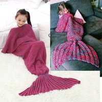 Wholesale Mermaid Tail Blanket for Kids Hand Crochet Snuggle Mermaid All Seasons Seatail Warm Adult Parental Blankets Sleeping Bag Blanket