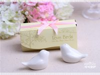 Wholesale Promotion DHL quot Love Birds In The Window quot Ceramic Salt Pepper Shakers Wedding Favors