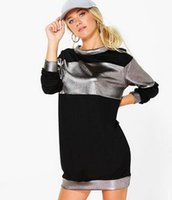metallic mini dress - 3 Colors Available New Celebrity Loose A line Metallic colours O neck Long Sleeve Dress High Quality Ladies Casual Dress for Winte