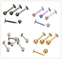 Wholesale 100 Piece mixed colors Monroe Gold Labret Ring G Spike ball surgical Stainless Steel ball Bar tragus ear body piercing jewelry lip rings