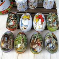 tin box - 6 Easter Egg Painted Eggshel Tin Boxes Iron Pills Case Gift Vintage Style Iron Candy Box Girl Favor Home Decoration