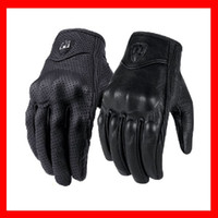 Wholesale 100 New Leather Gloves For ICON Moto Racing Gloves Perforated Leather motorcycle gloves cycling gloves Motorcycle Gloves black color M L XL