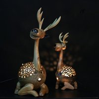 asian beds - Southeast Asian style handmade coconut production deer living room bedroom lamp table lamp