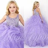 beautiful blinds - Discount Cheap Lilac Little Girl Ball Gown Pageant Dresses T Straps Neckline Beaded Blinds Rhinestone Bodice Beautiful Ruffle A line T