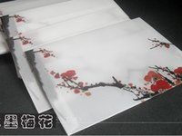 Wholesale Translucent Envelopes Chinese retro style Ink Plum decoration theme storage envelope set