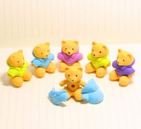 >3 years bear Fantastic 3pcs lot DIY little bear eraser creative Three-dimensional animal eraser gift small yellow cute bear rubber emoji