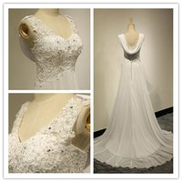 Wholesale Bridal Summer Sexy Lace Appliques Chiffon Beach Wedding Dress Boho Cheap Robe De Mariage Bridal Gown Casamento