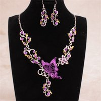 Wholesale Women Lady Butterfly Flower Alloy Fashion Wedding Necklace Earrings Pendant Statement Necklace Party Jewerly Colors