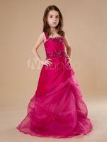 beautifly dresses - 2016 New Beautifly Fuchsia Tulle Floor Length Spaghetti Cute Crystal Little Girl s Pageant Dresses Wedding Kids Brithday Dresses