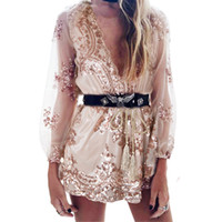 Wholesale Costumes For Short Women - Sequins Sexy Jumpsuit V-neck Perspective Outfit Shorts Long Sleeve Contrast Color One-piece Sheer Romper Trousers Costumes for Women Ladies