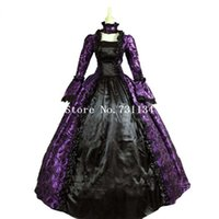 best female costumes - Best Seller Gothic Purple and Black Floral Print Brocade Victorian Era Dress Stage Costume