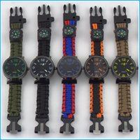 acrylic starter kit - 5 in Survival Tactical Emergency Watch Bracelet Hiking Camping Kit Paracord Fire Starter Compass Whistle Wristwatches Color