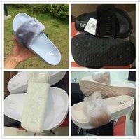 athletics slippers - 2016 New Women Sexy Rihanna Leadcat Fenty Air Slippers Girls Fashion Indoor Slide Sandals Scuffs Grey Pink Black White US5