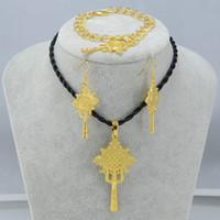 Wholesale Gold Silver Plated Ethiopian Cross Jewelry set Pendant Earring Bracelet Eritrean Africa Bridal Wedding Set Ethiopia set Jewelry