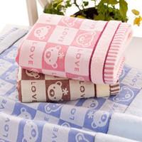 absorbent gauze roll - Cartoon Bear Print Towels Quick Absorbent Super Soft Gauze Cotton Bath Face Towel Bathing Washcloth Adult Facecloth x34cm