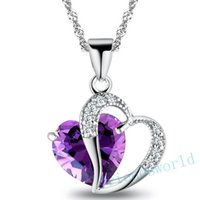 Wholesale 15 Colors Romantic Multicolor Crystal Love Heart Pendants Cheap Necklaces For Women Jewelry DHL
