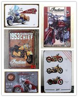 Wholesale Vintage Motorcycle Indian Chife Metal Tin Sign Plaque Home Garage Cafe Bar Pub Wall Decor Art Poster