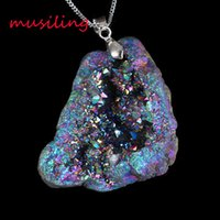 amethyst magic - musiling Jewelry Natural Gem Stone Pendants Necklace Chain Pendulum Crystal Geode Druzy Magic Stone Charms Fashion Men Jewelry