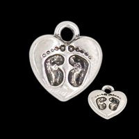 baby foot charm - Heart Shaped Alloy Charms Baby Feet Pattern Charms Antique Silver And Gold Plated mm AAC099