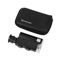 Wholesale Mini portable Microscope Pocket X X Handheld LED Lamp Light Loupe Zoom Magnifier Magnifying Glass Pocket Lens