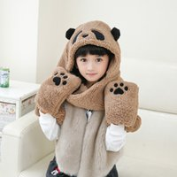 Wholesale 2016 new Kids Baby Winter Warm Baby Boys Girls Hat Scarf Set Cute Knitted Cotton Hats for Toddlers Cartoon Owl Hats