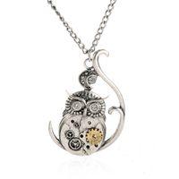 al por mayor mujer del reloj del collar-Collar de Steampunk del vintage Collar pendiente 2016 de la cadena del colgante del amor de la araña del reloj del búho de la antigüedad nueva para las mujeres de los hombres
