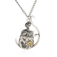 antique owl necklace - Vintage Steampunk Necklace Antique Owl Clock Spider Love Pendant Chain Necklace New Jewelry For Men Women
