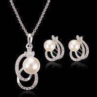 Date Bijoux de mariée Perle Pendentif Stud Collier Cristal Ensemble de bijoux en argent 925 Collier chaîne de bijoux de mariage 12set Vente