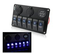 Wholesale 6 Gang LED Car Boat Rocker Switch Panel USB Socket Cigaretter Plug Voltmeter Car Auto LED Switch